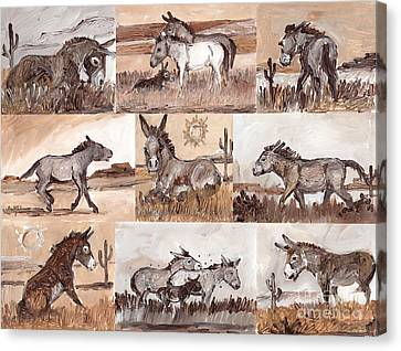 Burros Of The South West Sampler Canvas Print by Linda L Martin