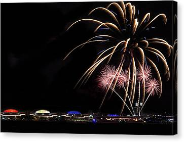 Burst Of Fireworks Canvas Print by Andrew Soundarajan