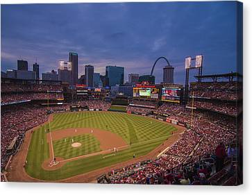 Busch Stadium St. Louis Cardinals Ball Park Village Twilight #3c Canvas Print by David Haskett