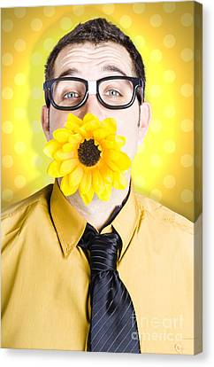 Business Man Celebrating Summer With Sun Flower Canvas Print by Jorgo Photography - Wall Art Gallery