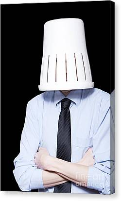 Business Person Under Stress Wearing Paper Bin Canvas Print by Jorgo Photography - Wall Art Gallery