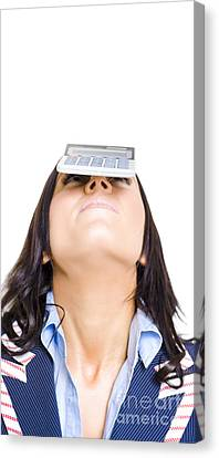 Business Woman Balancing Finance Accounts Canvas Print by Jorgo Photography - Wall Art Gallery