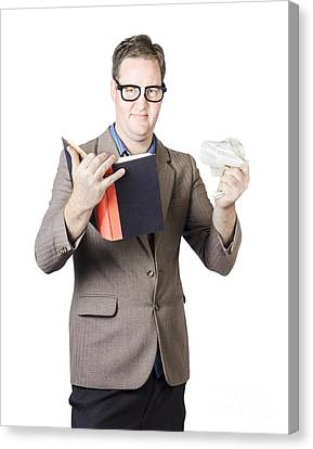 Businessman With Book And Crumpled Paper Canvas Print by Jorgo Photography - Wall Art Gallery