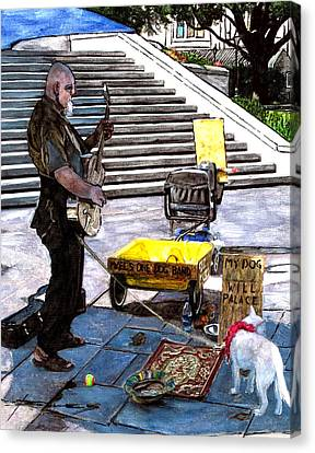 Busker With Dog Canvas Print by John Boles