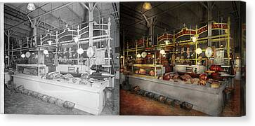 Butcher - Meat Party 1926 Side By Side Canvas Print by Mike Savad
