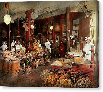 Butcher - The Game Center 1895 Canvas Print by Mike Savad
