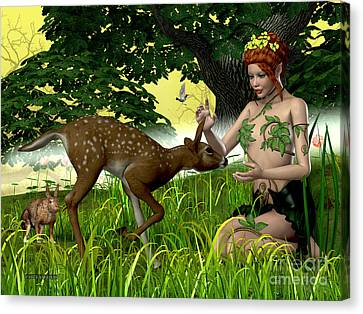 Buttercup Fairy And Forest Friends Canvas Print by Corey Ford