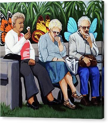 Butterflies Like Ice Cream Too Canvas Print by Linda Apple