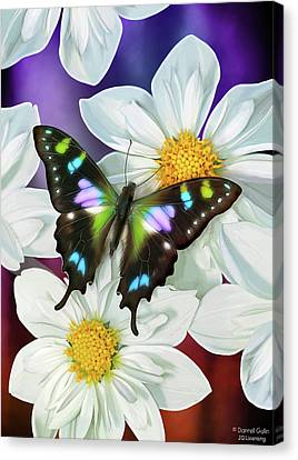 Butterfly Flowers Canvas Print by JQ Licensing