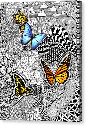 Butterfly Tangle Canvas Print by Julie Erin Designs