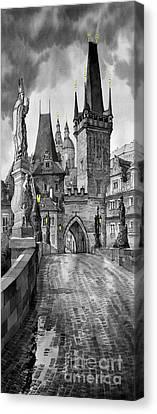 Bw Prague Charles Bridge 02 Canvas Print by Yuriy  Shevchuk