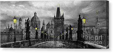 Bw Prague Charles Bridge 04 Canvas Print by Yuriy  Shevchuk