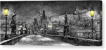 Bw Prague Charles Bridge 06 Canvas Print by Yuriy  Shevchuk