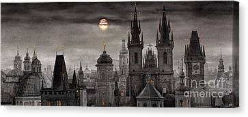 Bw Prague City Of Hundres Spiers Canvas Print by Yuriy  Shevchuk