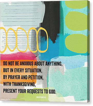 By Prayer And Petition- Contemporary Christian Art By Linda Wood Canvas Print by Linda Woods
