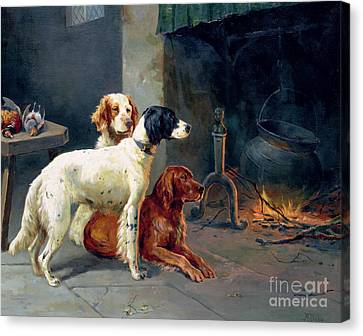 By The Fire Canvas Print by Alfred Duke