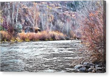 Cabin By The River In Steamboat,co Canvas Print by James Steele