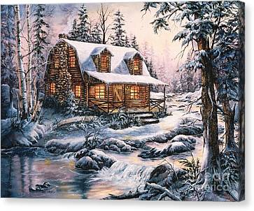 Cabin In Snow Canvas Print by Jean Harrison