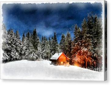 Cabin In The Woods Canvas Print by Edward Fielding