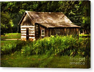 Cabin In The Woods Canvas Print by Lois Bryan