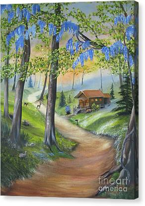 Cabin In The Woods Canvas Print by RJ McNall
