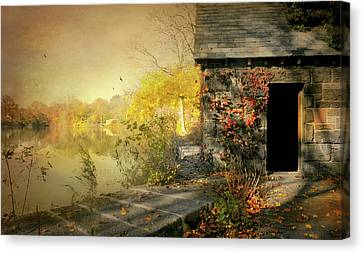 Cabin On The Reservoir Canvas Print by Diana Angstadt