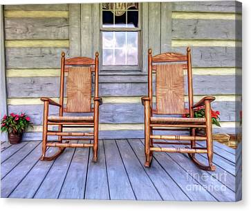 Cabin Porch Canvas Print by Marion Johnson