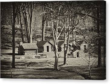 Cabins At Valley Forge Canvas Print by Bill Cannon