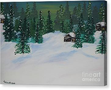 Cabins In The Woods Canvas Print by Jimmy Clark