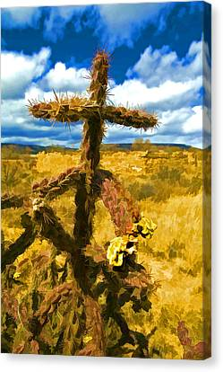 Cactus Cross Canvas Print by Lou  Novick