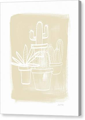 Cactus In Pots- Art By Linda Woods Canvas Print by Linda Woods