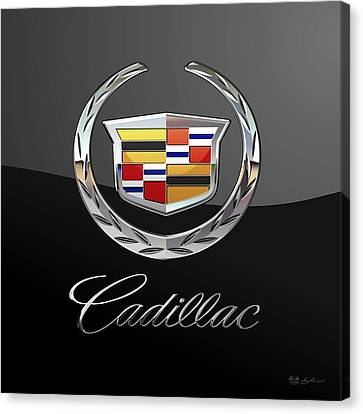 Cadillac - 3d Badge On Black Canvas Print by Serge Averbukh