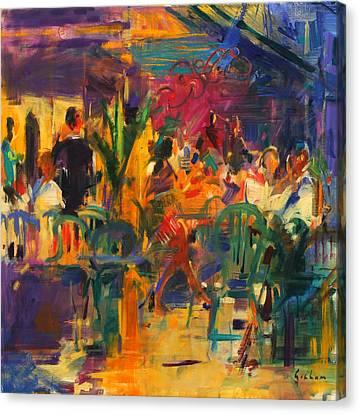 Cafe De La Place  St Paul De Vence Canvas Print by Peter Graham