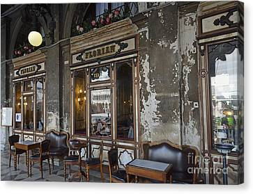 Cafe Terrace On Piazza San Marco Canvas Print by Sami Sarkis