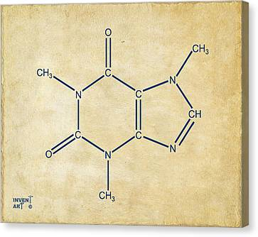 Caffeine Molecular Structure Vintage Canvas Print by Nikki Marie Smith
