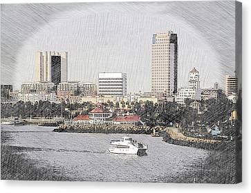 Cailiforna Long Beach Skyline Pa 01 Canvas Print by Thomas Woolworth