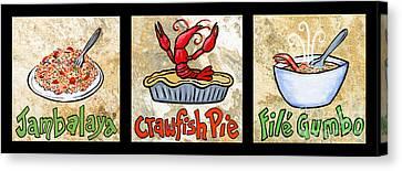 Cajun Food Trio Canvas Print by Elaine Hodges