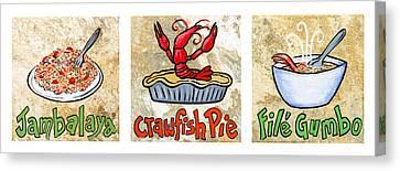 Cajun Food Trio White Border Canvas Print by Elaine Hodges
