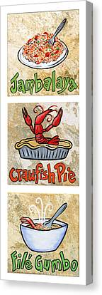 Cajun Trio White Canvas Print by Elaine Hodges