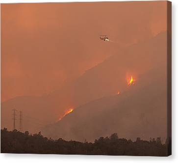 Cal Fire Copter 406 Curry Canyon Ca Canvas Print by Troy Montemayor