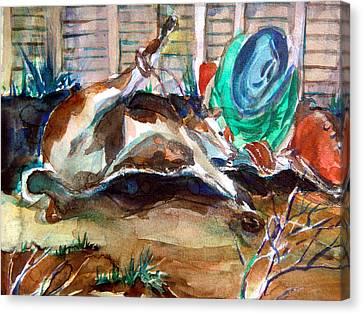 Calf Roping Canvas Print by Mindy Newman