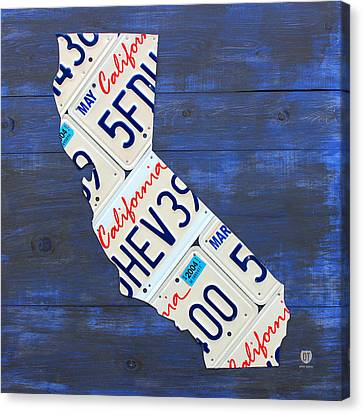 California License Plate Map On Blue Canvas Print by Design Turnpike