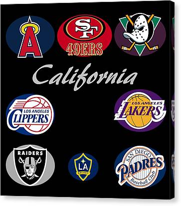 California Professional Sport Teams Collage  Canvas Print by Movie Poster Prints