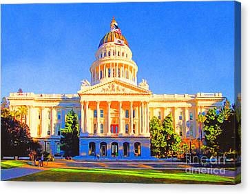 California State Capitol . Painterly Canvas Print by Wingsdomain Art and Photography