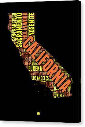 California Word Cloud Map 1 Canvas Print by Naxart Studio