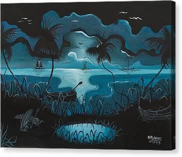 Calm Moonlit Sea Canvas Print by Herold Alvares