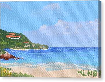 Calm Water In Guana Bay Canvas Print by Margaret Brooks