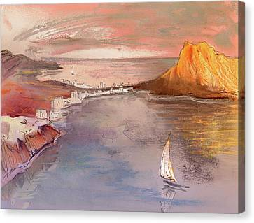 Calpe At Sunset Canvas Print by Miki De Goodaboom