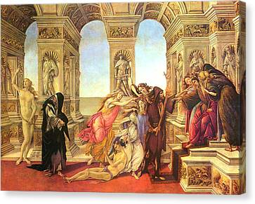 Calumny Of Apelles  Canvas Print by Sandro Botticelli