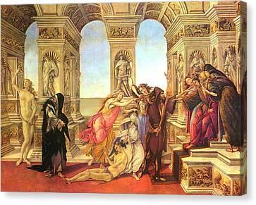 Calumny Of Apelles  Canvas Print by Sandro Botticelli